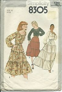 S 8305 sewing pattern 70's Pullover BLOUSE Tiered SKIRT in 2 lengths sew size 14