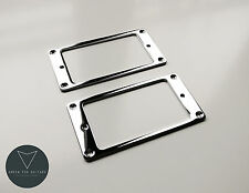 2x Metal Humbucker Pickup Mounting Ring Surrounds (Chrome) New Pair Silver