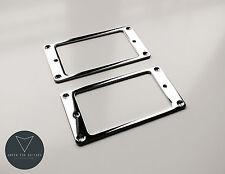 2x Metal Humbucker Pickup Anello di montaggio circonda (CROMATO) Nuovo Paio Di Argento
