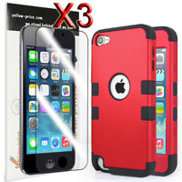 iPod Touch 5th 6th 7th Gen -Red Christmas Gift Hard&Soft Hybrid Armor Case Cover