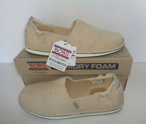 Skechers Ladies New Slip On Natural Casual Memory Foam Trainers Shoes Sizes 3-7