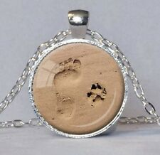 Footprints In the Sand Necklace Silver Keepsake Foot & Paw Print BRAND NEW