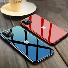 For iPhone 11 Pro Max Mirror Plated TPU Tempered Glass Back Cover Case With Logo