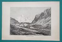KYRGYZSTAN fmr Russia Schurovskogo Glacier Muz Tok - 1884 Antique Print