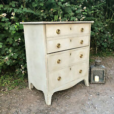 Grey Hand Painted Country Style Vintage Commode / Bedside Cabinet  Brass Handles