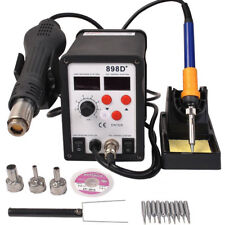 898D+ 2in1 SMD Rework Soldering Station Solder ESD Tips BGA Hot Air Nozzles 110V