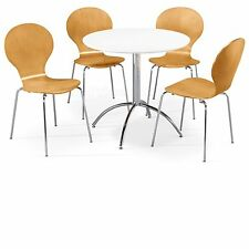 Dining Set Round White Table and 4 Natural Chairs Chrome Keeler Kitchen Cafe