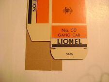Lionel N0.50 Orange & Blue Gang Car box w/insert -licensed reproduction
