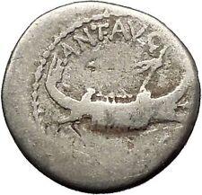 MARK ANTONY Cleopatra Lover 32BC Actium Ancient Silver Roman Coin LEG IV i53377
