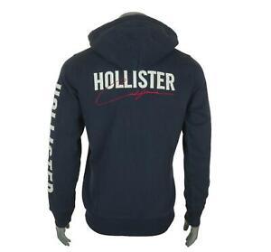 New Men's Hollister Full Zip Hoodie Fleece Lined Embroidered Sweatshirt M XL