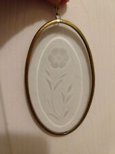 Beveled Glass Sun Catcher, Etched with a flower