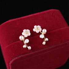 1 Pair Women Fashion Jewelry Gold Elegant Crystal Pearl Flower Ear Stud Earrings