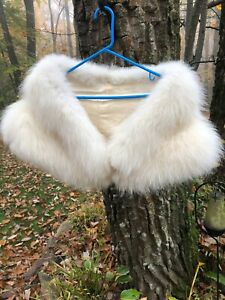 Gorgeous almost white real fox fur wrap shawl coat cape stole bridal