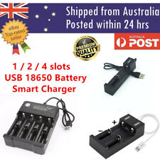1 2 4 Slots Smart USB 18650 Battery Charger for 3.7V Rechargeable Battery AU