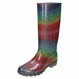 Ladies Spot On Rainbow Glitter 'Wellingtons'