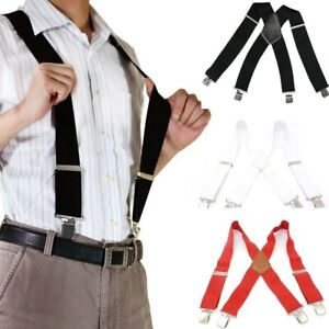 X-Back Red White Black Suspenders 5 cm Width Heavy Duty Suspenders