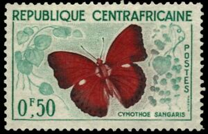 """CENTRAL AFRICAN REPUBLIC 4 - """"Cymothoe sangaris"""" Butterfly (pf35470)"""