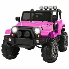 12V Electric Ride On Jeep Truck RC Remote Control MP3 Led Lights For Kids Pink