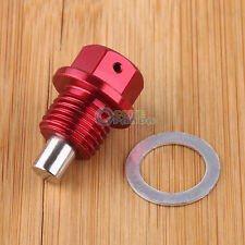 Magnetic Oil sump drain plug Bolt Nut Screw Washer Universal M14x1.5 Red