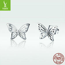 Fine 925 Sterling Silver Stud Earrings Butterfly Ear Nail For Fashion Women