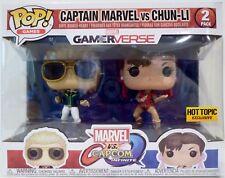 "CAPTAIN MARVEL vs CHUN-LI Pop Games 4"" inch Vinyl Figures 2-pack Hot Topic 2017"