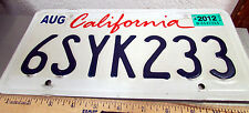 State of California Lipstick License Plate Embossed expired 2012 tags, 6SYK233