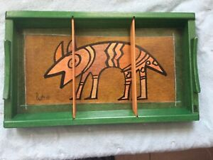 Vintage Kakadu Hand Painted Animal Wood Tray Israel Reut Shahar 13x7.5 sign