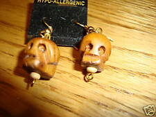 Skull head wooden hand carved earrings tiki carvings NEW Goth