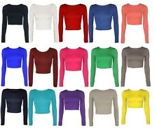 WOMENS ROUND NECK LONG SLEEVE CROP TOP T SHIRT TOPS LADIES TOP 8-14