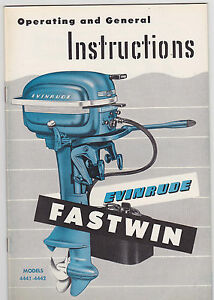 1952 vintage #4441-4442 EVINRUDE FASTWIN Boat Motor MANUAL ~ NOS ~ NEW OLD STOCK