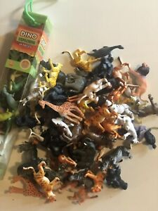55+pcs Dinosaurs And Jungle Lion Giraffe Rhino Rubber Figures Toy Assorted Lot