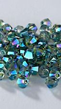 100pcs Blue Metallic Iridescent SHIMMER 4mm Bicone Crystals Bead DIY Craft
