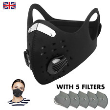 Anti Dust Reusable Protection for Biking, Sport, With Filters, Washable, Black