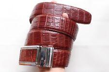 W 4.0cm - Red Brown Genuine Alligator, CROCODILE Leather Skin MEN'S Belt #261