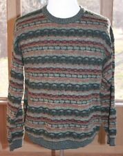 Idea Uomo Size Large Multi Colored Made in Italy Long Sleeve Sweater Textured AG