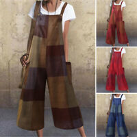 US Womens Sleeveless Holiday Jumpsuits Baggy Loose Overalls Wide Leg Dungarees