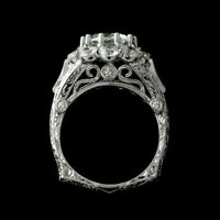 Filigree Art Deco Vintage Ring Fine 14k White Gold 2.21 Ct Diamond Wedding Ring