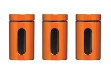 Tea Coffee Sugar Set of 3 1000ml Storage Jars Kitchen Canisters  Enamel & Glass