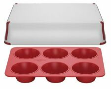 PrepCo Bake Porter 6 Cup Muffin Pan with Serving Cover in Red