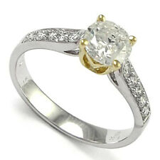 18k Two-Toned White Gold Diamond Solitaire Engagement Ring