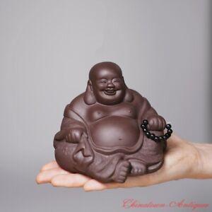 Purple Clay Maitreya Buddha Statue Clay Figurine Tea Pet Home Decorations #1489