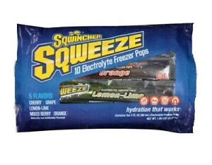 Lot of 3-Sqwincher Sqweenze 10 Electrolyte Freeze Pops Total 30 POPS!!!