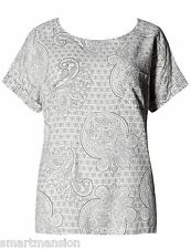 New M&S Ladies Blouse Ivory Print Linen Blend Short Sleeve Top Size10-18 RRP £25