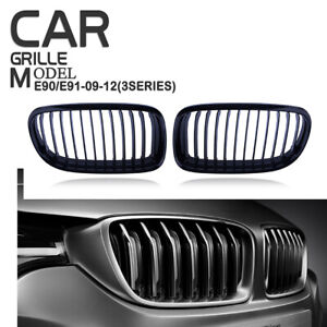 For 2009-2011 BMW E90 E91 325i 328i Front Kidney Grill Grille Gloss Black RH+LH