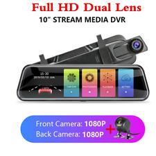 "10"" 1080P HD Dual Lens Car DVR Dash Video Cam Mirror Recorder Rear View Camera"
