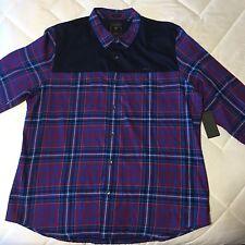 "Men's ""GUESS"" Plaid Blue/red Long Sleeve Shirt Size XXL NWT"