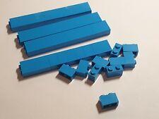 100 x LEGO bricks 1x2 DARK AZURE  part no 3004