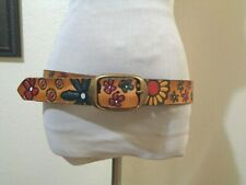 VINTAGE MADE IN USA HIPPIE BROWN LEATHER PAINTED TOOLED FLORAL DESIGN BOHO BELT