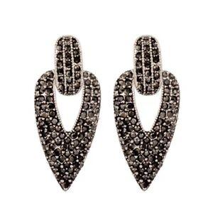 Statement Black Crystal Drop Pierced Earrings  - New in Gift Box