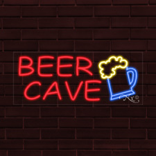 Brand New Beer Cave Withlogo 32x13x1 Inch Led Flex Indoor Sign 31176